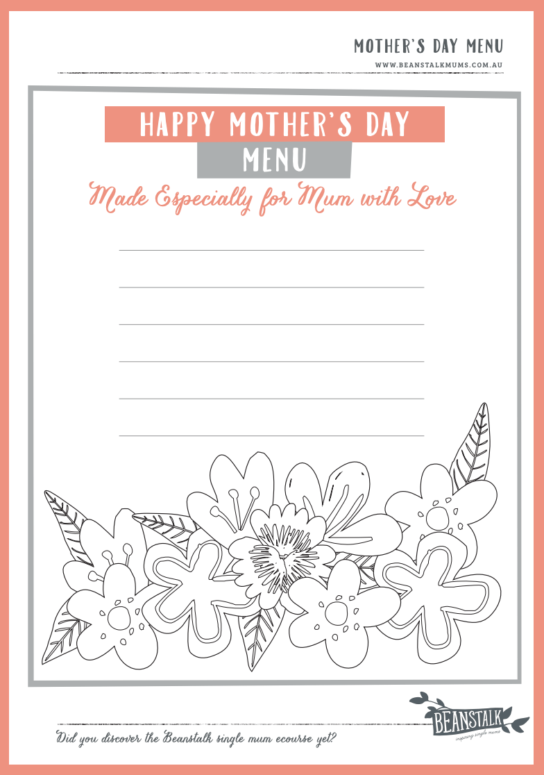 Pretty much free mothers day gifts | Menu template | Beanstalk Mums