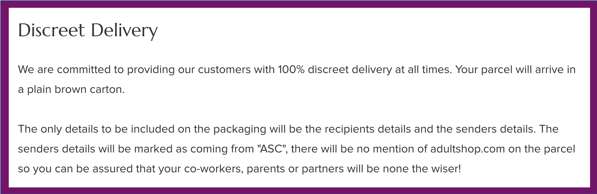 Discreet delivery note | Beanstalk Mums
