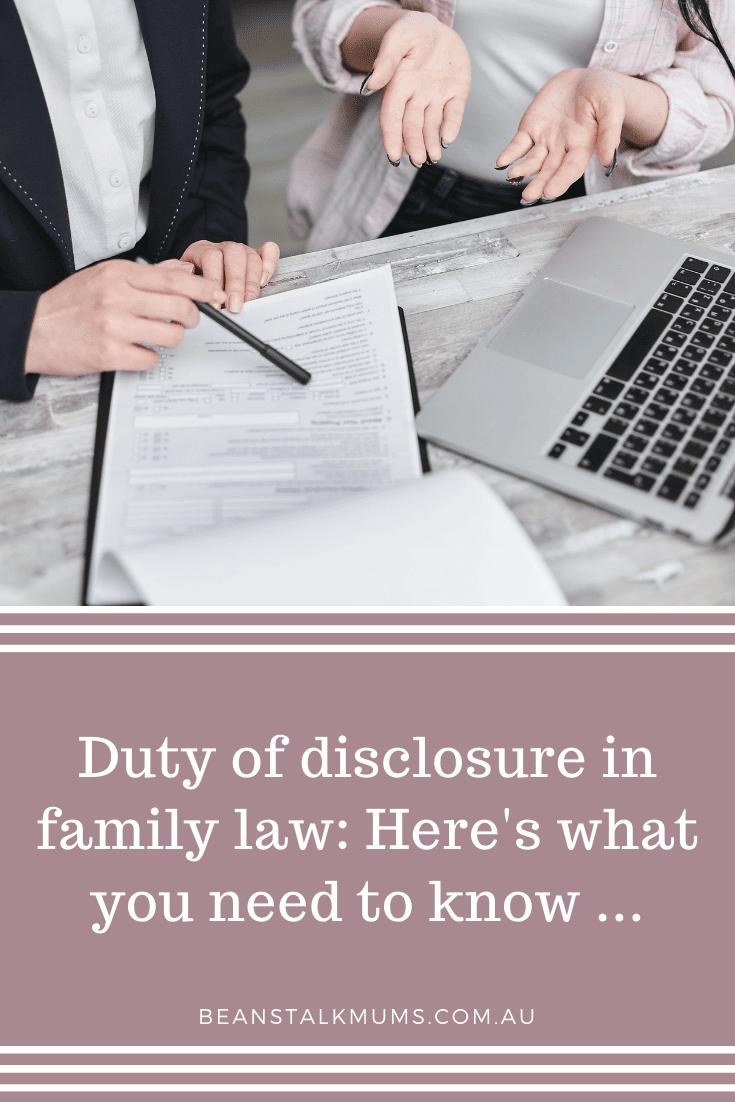 Duty of disclosure family law   Beanstalk Single Mums Pinterest